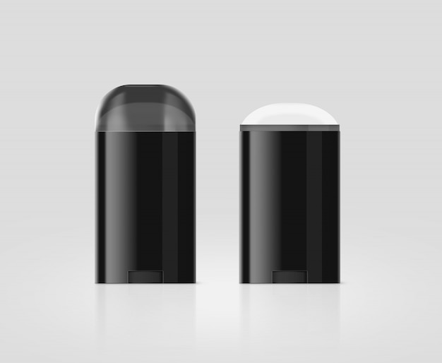 Blank black deodorant stick mockup set