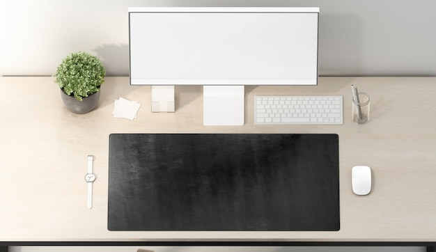 Blank black desk mat mouse and keyboard , top view, 3d rendering. empty keypad carpet and white screen for workplace . clear rubber accessory pad for table pc .