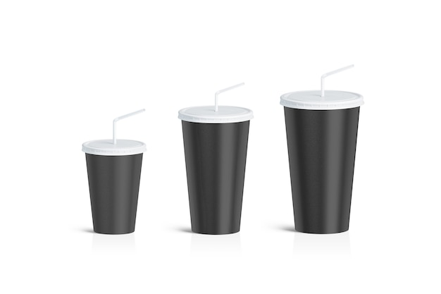 分離された空白の黒い使い捨てカップストローセット