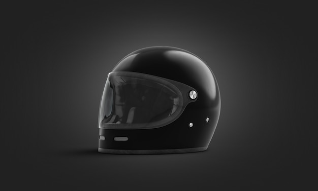 Blank black extreme helmet with glass , dark wall