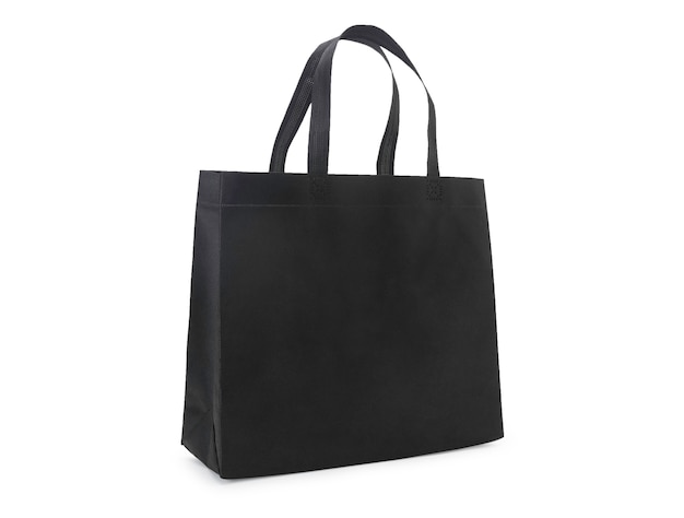 Blank black fabric canvas bag isolated
