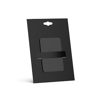 Blank black gift card, side view
