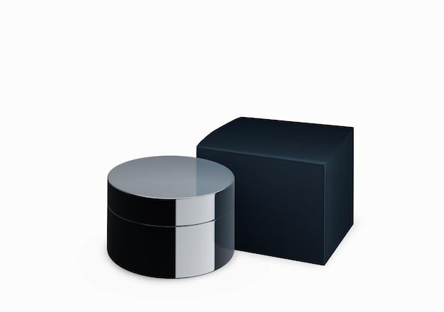 빈 검은 광택 화장품 항아리 전면보기 각도, 3d 일러스트에서 얼룩 크림과 함께 흰색 배경에 조롱