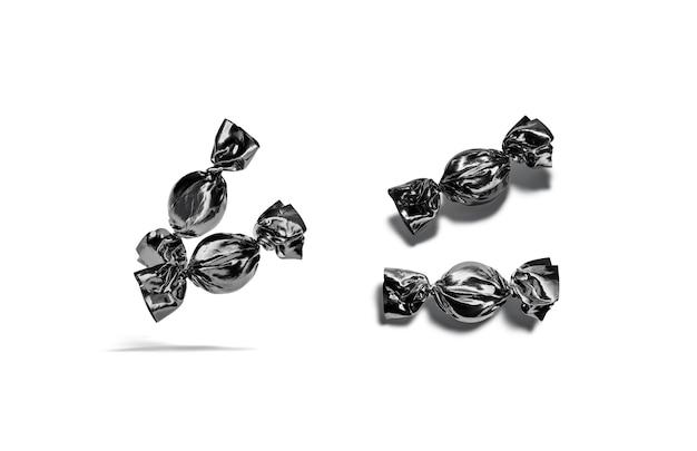 空白の黒いハードキャンディーホイルラッパーモックアップ空のタフィーまたはチョコレートグッズラッピングモックアップ分離