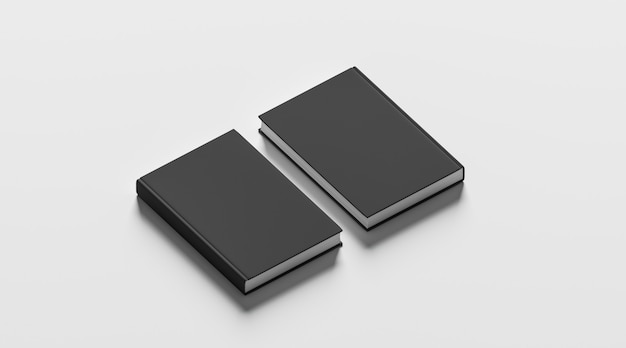 Blank black hardcover books front and back