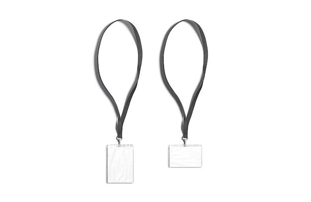 名刺のモックアップが付いている空白の黒い水平および垂直のストラップ空のプラスチックの名札のモックアップ
