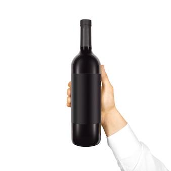 Blank black label  on bottle of red wine