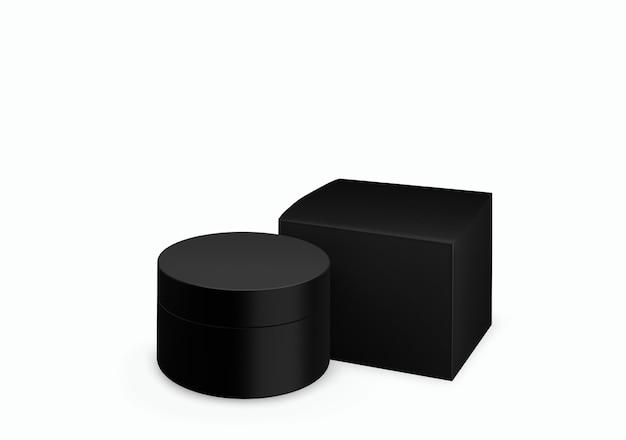 빈 검은 매트 화장품 항아리 전면보기 각도, 3d 일러스트에서 얼룩 크림과 함께 흰색 배경에 조롱