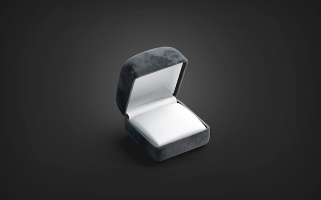 Blank black opened ring box mockup on dark