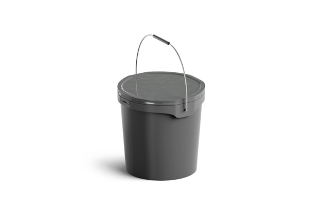 Blank black paint bucket with handle