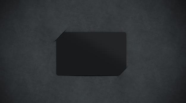 Пустая черная бумажная визитница, вид сверху, 3d-рендеринг.