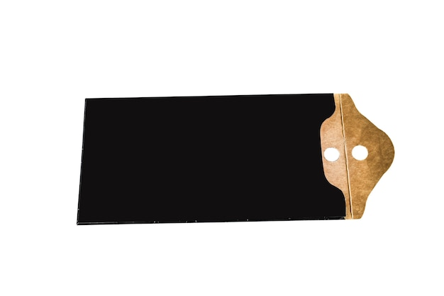 Blank black paper price tag. label icon with cord.