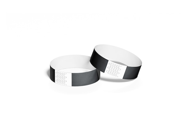 Blank black paper wristbands , isolated