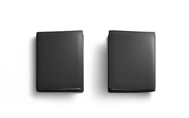 Пустая черная обложка для паспорта, изолированная, передняя и задняя сторона