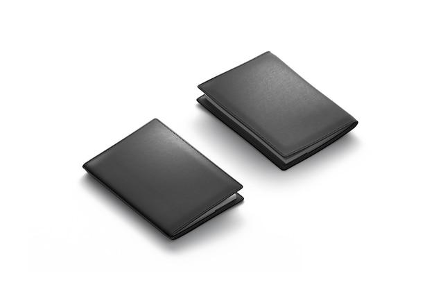 Пустая черная обложка для паспорта, изолированная, передняя и задняя стороны