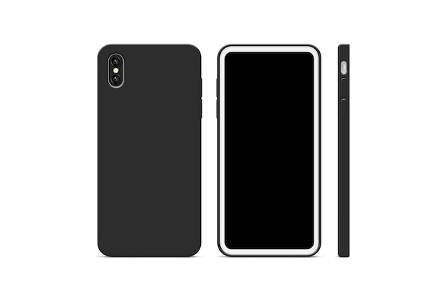 Blank black phone case mock up