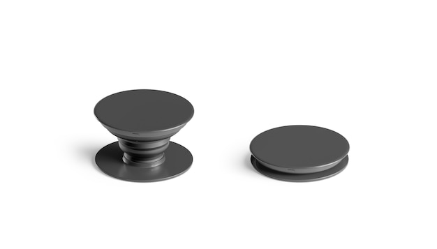 Blank black phone pop socket , isolated, side view