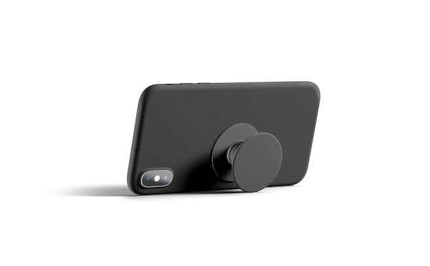 Blank black phone popsocket sticked on cellphone