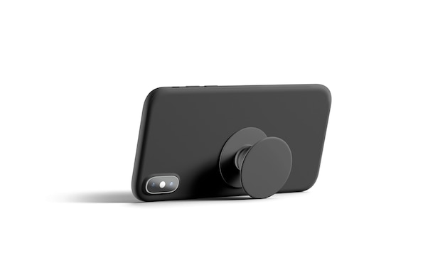 Пустой черный телефон popsocket, наклеенный на мобильный телефон