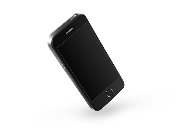 Blank black phone screen isolated