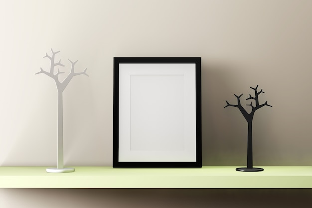 Blank black picture frame on the wall  with decoration. 3d render.