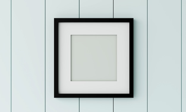 Blank black  picture frame on the wood wall. 3d render.