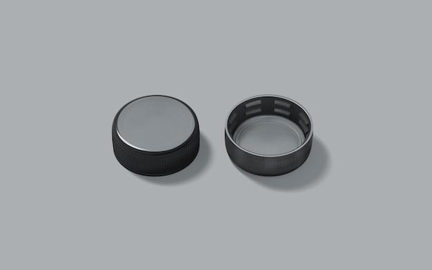 Blank black plastic bottle caps set isolated,