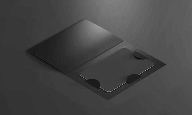 종이 책자 홀더 안에 빈 검은 색 플라스틱 카드. 3d 렌더링.