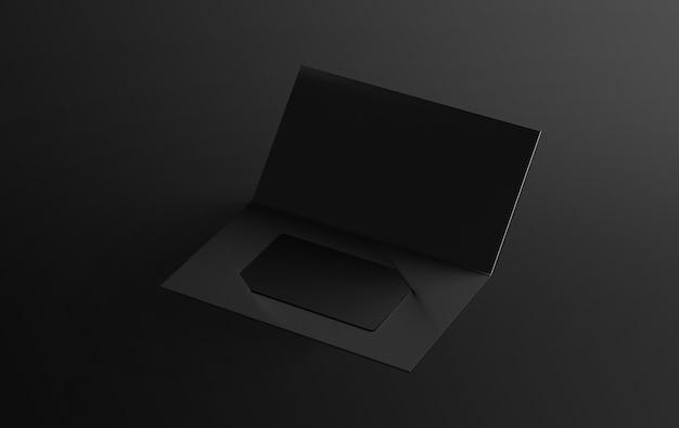 Пустая черная пластиковая карточка внутри держателя для бумажных буклетов