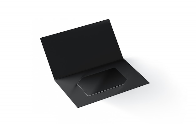 Blank black plastic card inside paper booklet holder