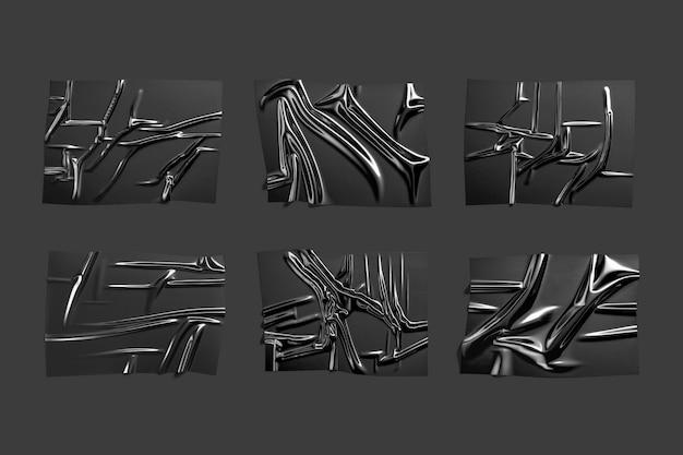 空白の黒いプラスチック箔ラップオーバーレイモックアップモックアップをパッケージ化するための空のしわのあるポリエチレンテープ