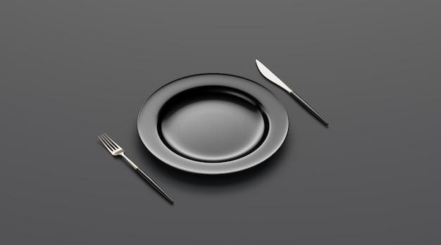 Макет пустой черной пластины с вилкой и ножом