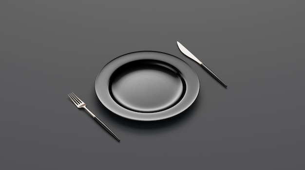 Blank black plate mockup with fork and knife