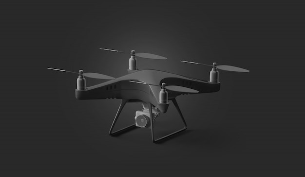 Blank black quadcopter mockup, stand isolated on dark background