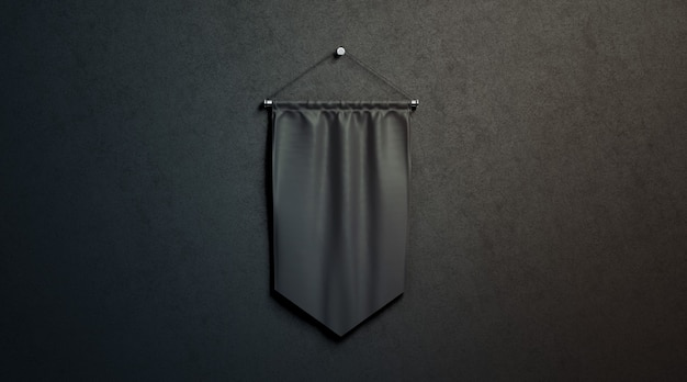 Blank black rhombus pennant mockup, hang on black wall in darkness