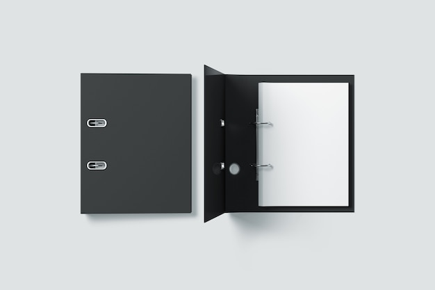 Blank black ring binder folder design  top view