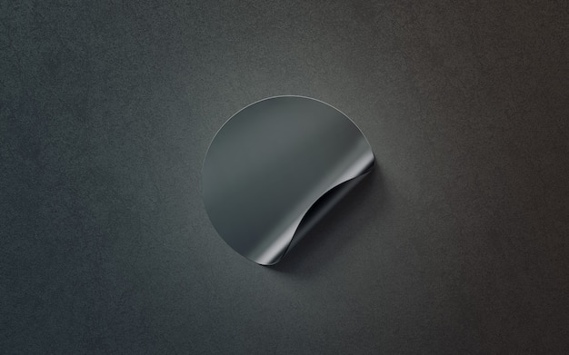 空白の黒い丸い粘着ステッカー、上面図