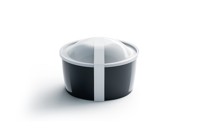 Blank black round disposable container with white label , isolated