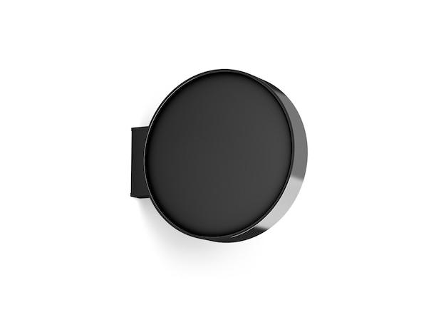 Пустой черный круглый магазин вывесок дизайн-макет Premium Фотографии