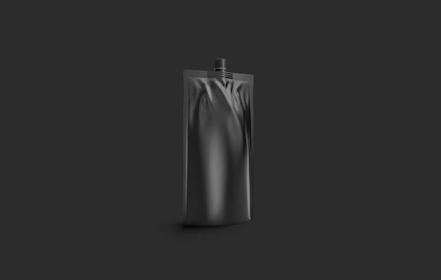 Blank black sauce doy pack , on dark wall