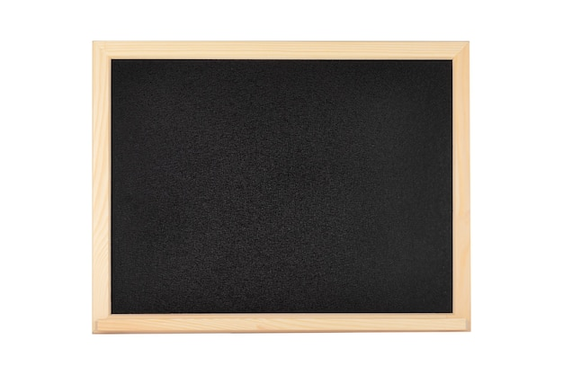 Blank black school or restaurant chalkboard with wooden frame on a white background