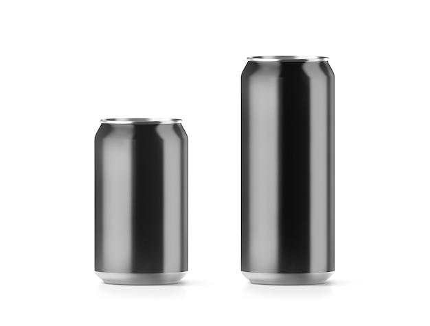 Пустая черная маленькая и большая алюминиевая банка содовой