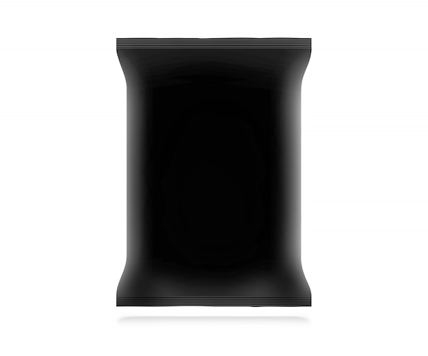 Blank black snack bag  isolated.