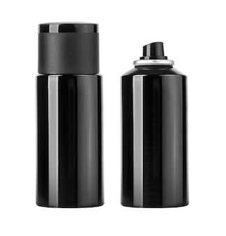Blank black spray can isolated on white,
