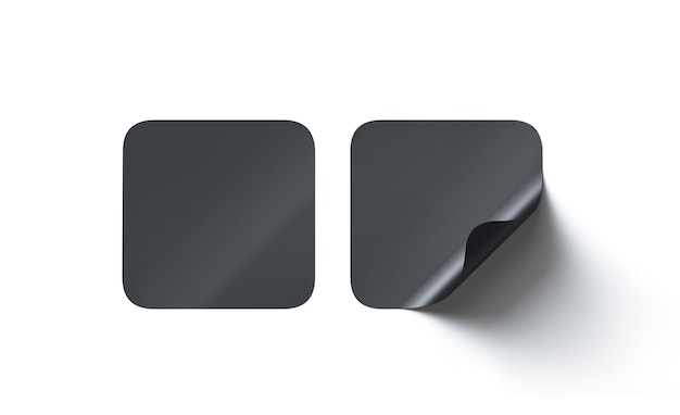 Blank black square adhesive stickers mock up