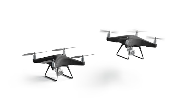 Blank black stand and flying quadrocopter mockup, isolated