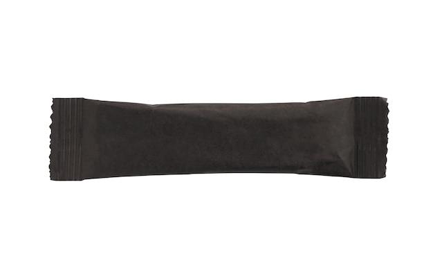白い背景で隔離の空白の黒いスティックサシェコーヒーパッケージ
