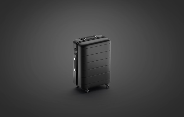 Blank black suitcase mockup stand isolated on darkness background