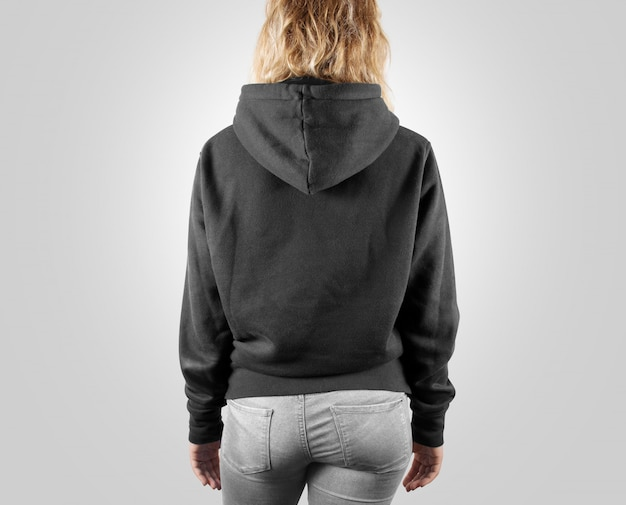 Blank black sweatshirt back side view isolated
