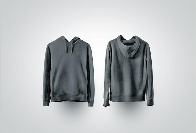 空白の黒いスウェットシャツ、正面図と背面図